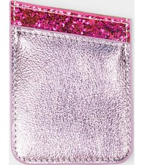pink glitter cell phone wallet pocket - pink