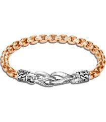 'asli classic chain' sterling silver bronze box chain bracelet