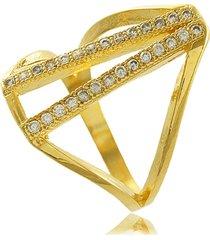 anel envezado com mini zircônias cravejadas 3rs semijoias dourado