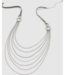 lane bryant women's mixed chain bib necklace onesz silvertone