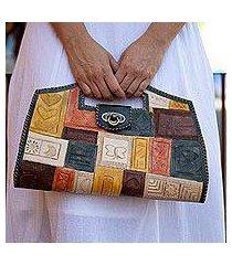leather handle handbag, 'whimsical autumn' (mexico)