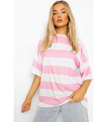 gestreept oversized t-shirt, candy pink