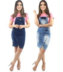 combo 2 jardineiras jeans anagrom moda evangélica azul