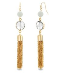 catherine malandain women's beaded tassel style drop earrings