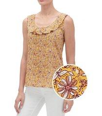 blusa sin mangas ruffle mujer amarillo gap