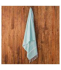 cotton beach towel, 'sweet relaxation in mint' (guatemala)