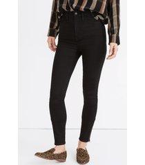 women's madewell 11-inch roadtripper ankle zip skinny jeans, size 27 - black