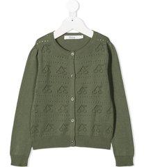 bonpoint open knit cherry cardigan - green