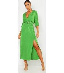puff sleeve horn buckle midaxi dress, olive