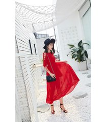 pf252 sexy lace up sleeve long dress  size s-l, red