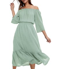 women's michael stars anya off the shoulder dress, size medium - green