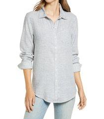 women's caslon easy linen blend button-up shirt, size large - blue