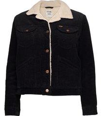 124wj sherpa jacket jeansjack denimjack zwart wrangler