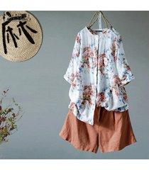 zanzea botones de manga larga de 1/2 para mujer camisa larga tops blusa estampada floral tallas grandes -café