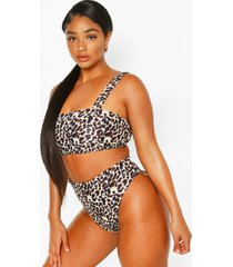 plus leopard print high waist bikini, brown