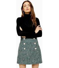 green boucle mini skirt - green