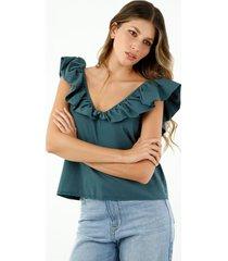 camisa de mujer, cuello en v, manga sisa con bolero sobredimensionado, color azul petróleo