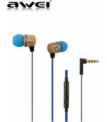 audífonos bluetooth manos llibres, awei 16hi patrón de madera en el oído auriculares estéreo super mega auricular (azul)