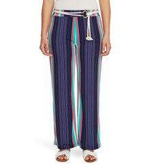 women's chaus stripe high waist belted pants, size large - blue