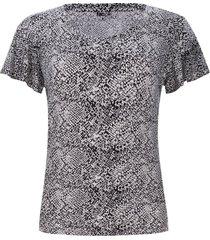 camiseta mujer estampada mosaico piton color blanco, talla 6