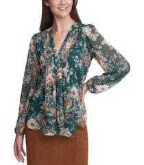 calvin klein floral-print pleated v-neck blouse