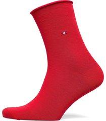 th women 98% cotton sock 1p lingerie hosiery socks röd tommy hilfiger