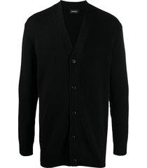diesel longline fine knit cardigan - black