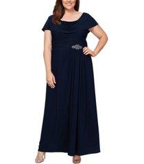 alex evenings plus size cowl-neck a-line gown