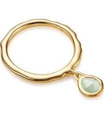 gold siren charm ring chrysoprase