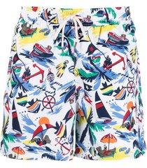 polo ralph lauren traveller polo bear swim shorts - white