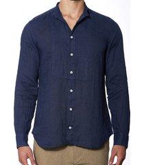 blue navy man linen shirt korean collar