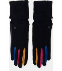 mix coloured pu- tricot gloves - black - u