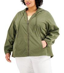 karen scott plus size cotton hooded jacket, created for macy's