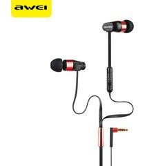 audífonos bluetooth manos llibres, awei 12hi auriculares estéreo con cable auriculares con control de voz de micrófono (rojo)