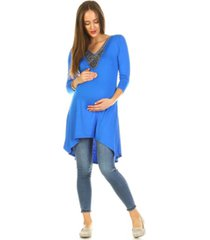 white mark maternity calla embellished tunic top