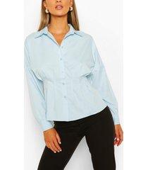 katoenen overhemd met geplooide taille, hemelsblauw