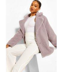 teddy faux fur coat, lilac