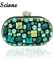 new vintage womens emerald jewelry clutch bags handmade beaded green gem lady ev