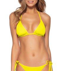 women's becca color code triangle bikini top, size d - green
