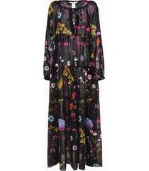 stella mc cartney beachwear abito lungo in misto seta motivo flowers