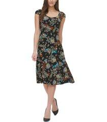 tommy hilfiger alba botanical-print jersey dress