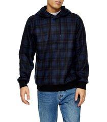 men's topman check brushed hoodie sweatshirt