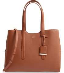 boss taylor leather business tote - brown