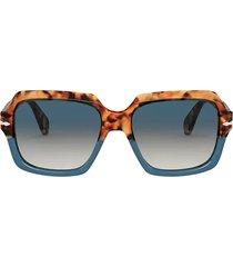 persol persol po0581s brown tortoise & opal blue sunglasses