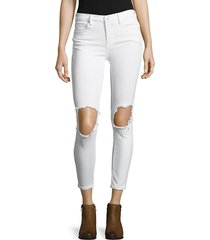 free people women's five-pocket cropped jeans - white - size 29 (6-8)