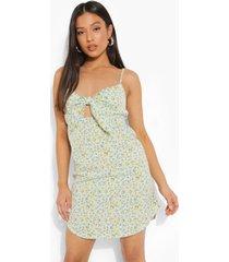 petite bloemenpatroon swing jurk met strik, yellow