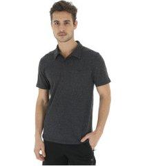 camisa polo mizuno square - masculina - preto