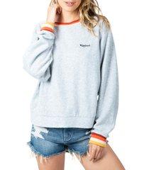women's rip curl boardwalk fleece sweatshirt, size large - grey