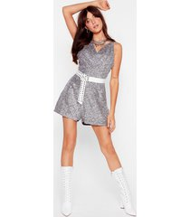 womens disco stick cowl sequin romper - silver
