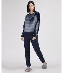 pijama de fleece feminino listrado manga longa azul marinho